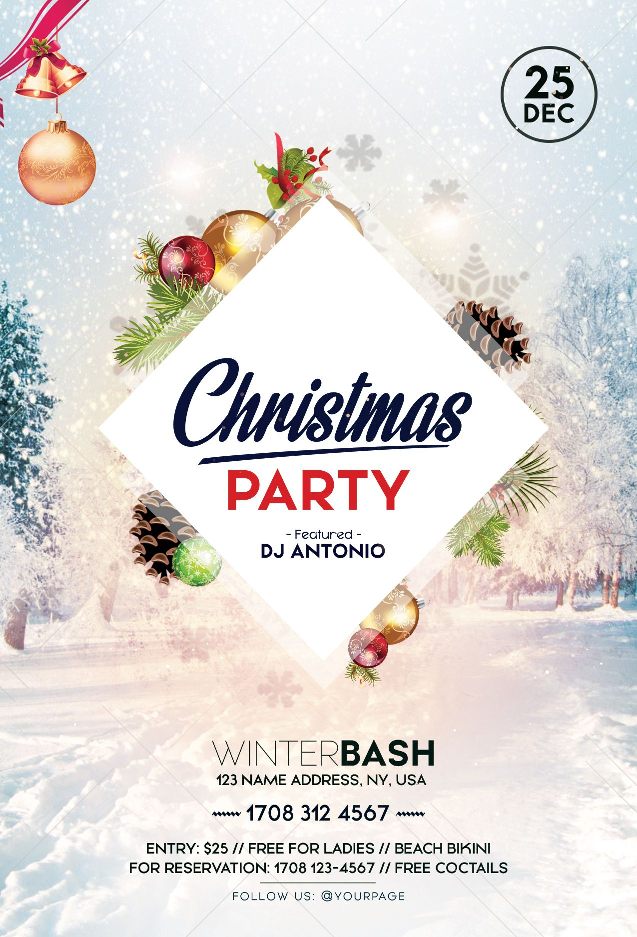 Check Out My Behance Project Christmas Party Psd Flyer