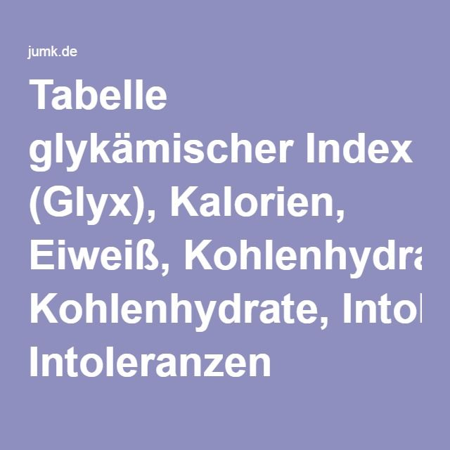 tabelle glyk mischer index glyx kalorien eiwei kohlenhydrate intoleranzen lebensmittel. Black Bedroom Furniture Sets. Home Design Ideas