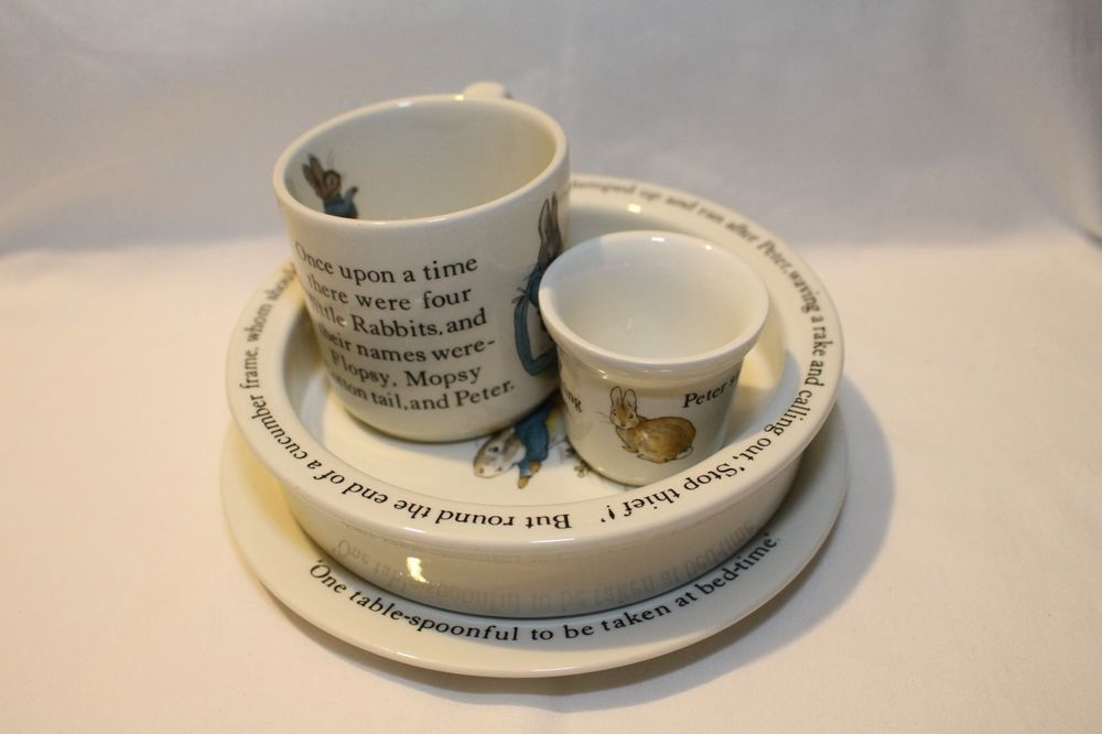 EUC HTF Vintage Beatrix Potter Peter Rabbit Wedgwood 4-Piece Nursery Set England #Wedgwood #Vintage #BeatrixPotter #PeterRabbit