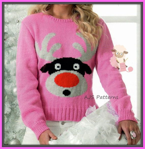 PDF Knitting pattern for Rudolf The Red Nose Reindeer Christmas Festive  Sweater… 96f593b0e9