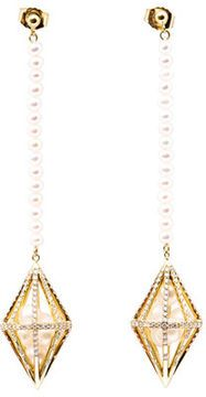 Melanie Georgacopoulos White diamond & pearl losange earrings on shopstyle.com
