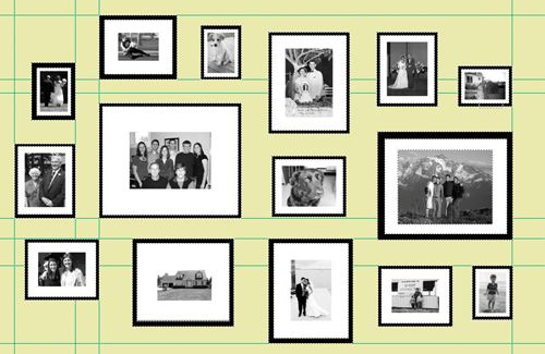 Gallery wall final layout with pictures - but maybe squeeze them in ...