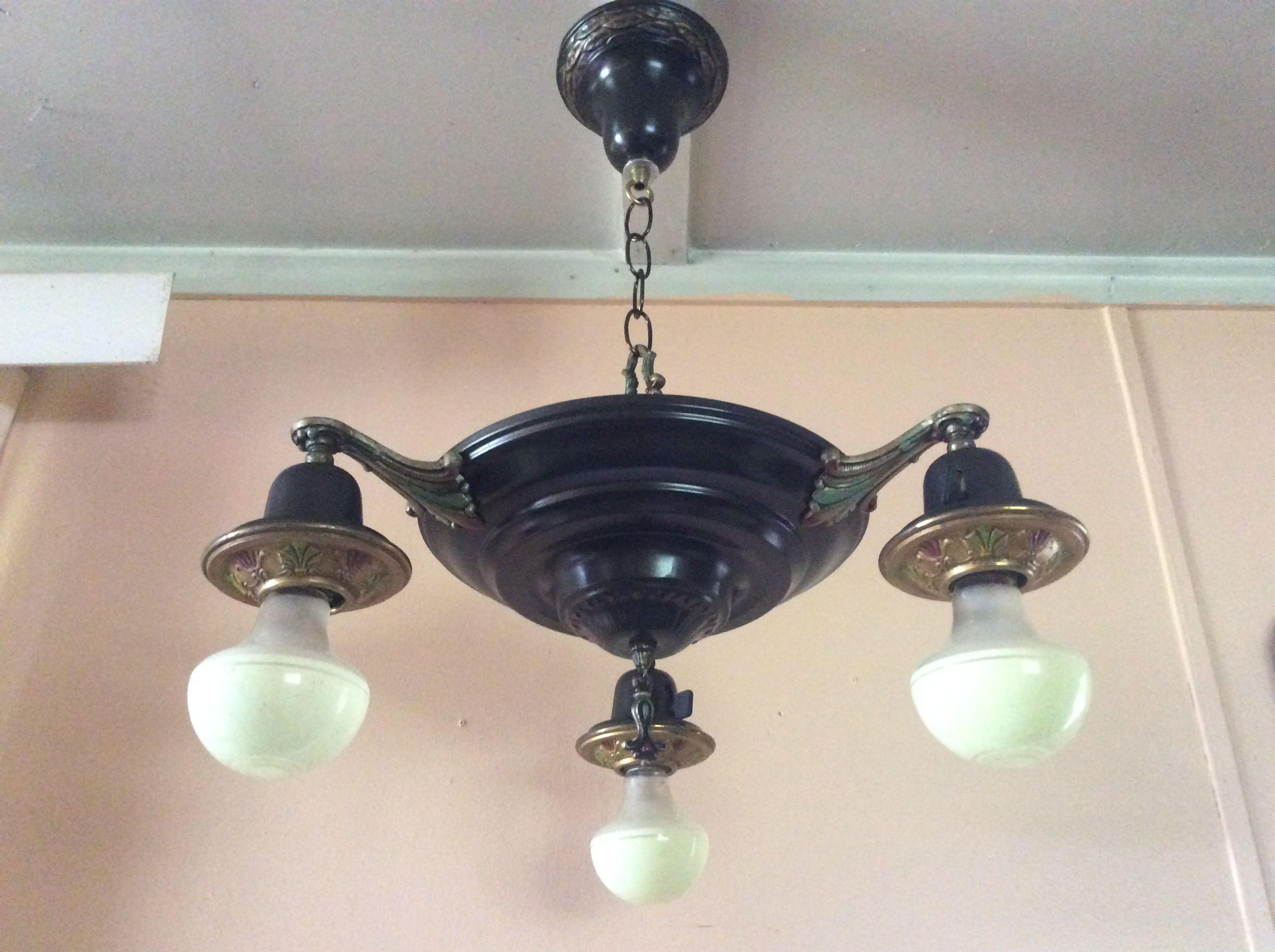 Vintage art deco polychrome pan chandelier 3 arm 1920s vintage vintage art deco polychrome pan chandelier 3 arm 1920s arubaitofo Image collections
