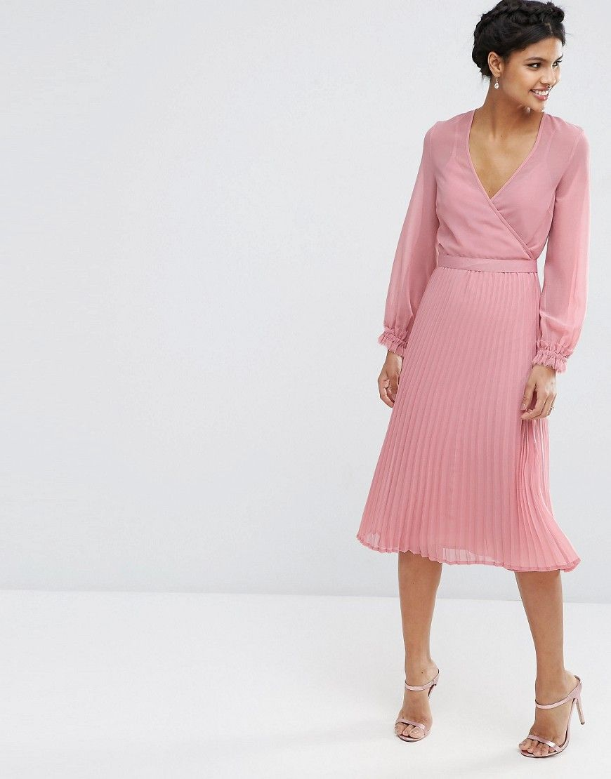 dafb1ce8718 Image 1 of ASOS Occasion Pleat Wrap Dress
