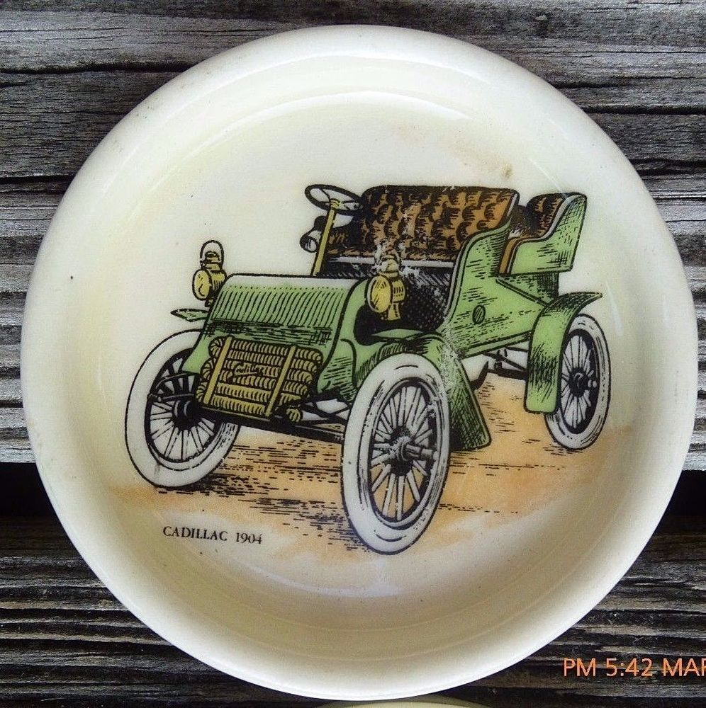 Vintage Set 4 Coasters Small Plate Dishes Hol Hyalyn Porcelain Cadillac 1904 Car & Vintage Set 4 Coasters Small Plate Dishes Hol Hyalyn Porcelain ...