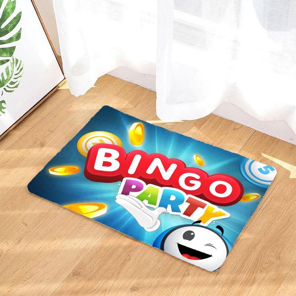 Bingo Logo Badematten Rutschfest Und Waschbar Badezimmer Teppich Fussmatte Fussabtreter Blau Graphic Rug Door Mat Funny Doormats
