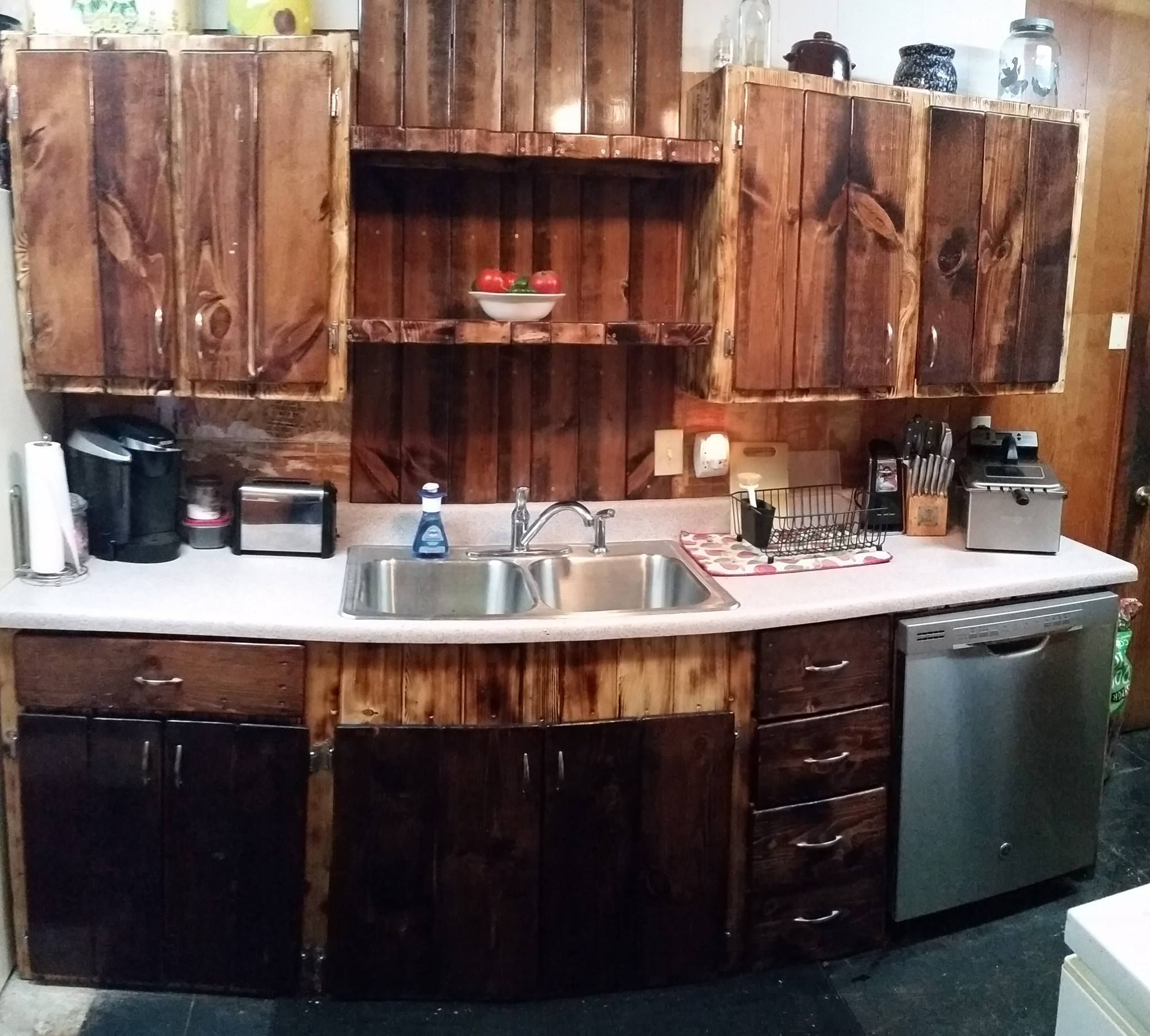 Superior Reclaimed Wood Kitchen Cabinets Made With Lumber Purchased At Mccoyu0027s  Building Supply.