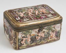 Capodimonte Brass Mounted Porcelain Dresser Box, Early