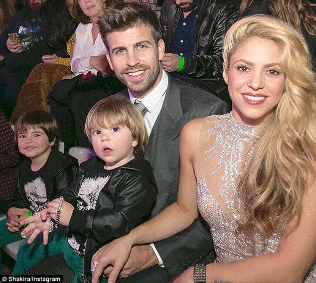 Family affair: Shakira, 39, and Gerard Pique, 29, brought their sons for a family outing to see their mother be honored as best Latin female artist of all time