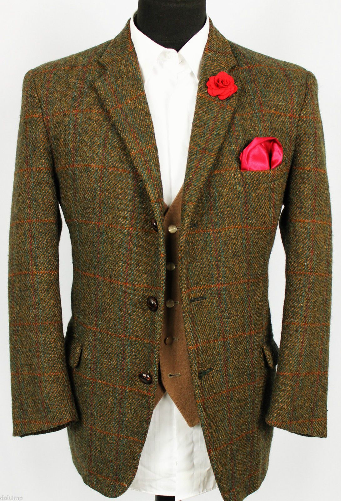Mens Harris Tweed Blazer Jacket Windowpane Wedding Country Hacking 40s Stunning Winter Tweed Jacket Tweed Wedding Suits Wedding Suits Men