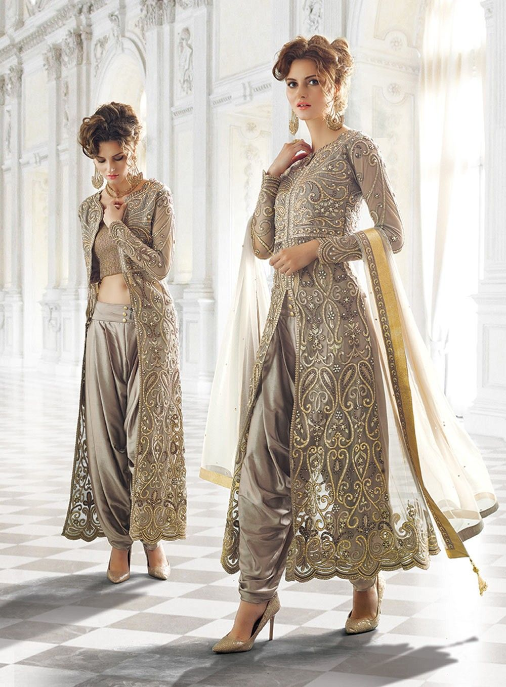 Grey designer wear indian dhoti style anarkali suit in net Designer clothes discounted