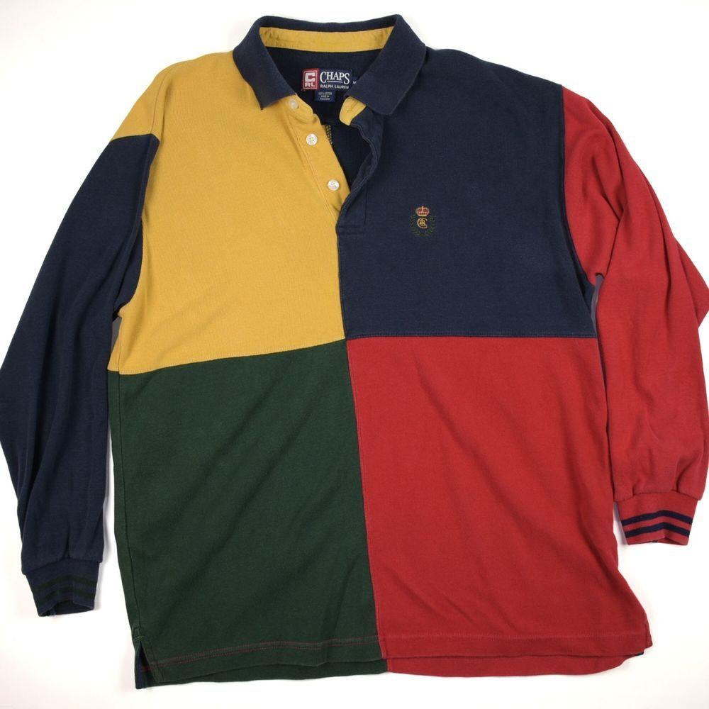 79886bab3 Vintage Chaps Ralph Lauren Color Block Long Sleeve Crown Crest Polo Shirt  Medium
