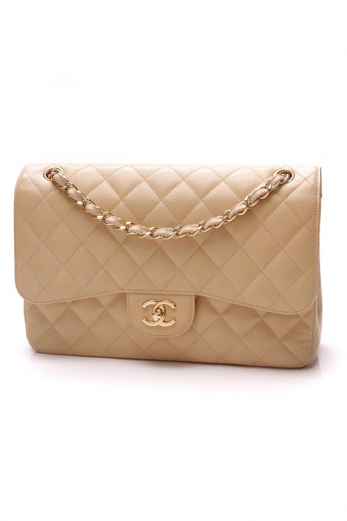 bac4deafc22d Chanel Classic Double Flap Bag - Jumbo Beige Caviar #Chanelhandbags ...