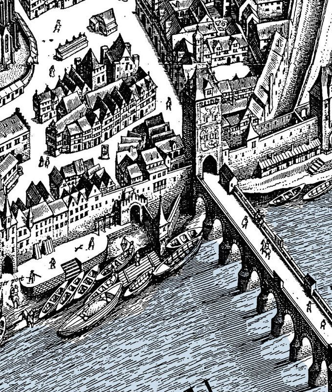 Old map of Frankfurt and Main, Germany 1628, Medieval