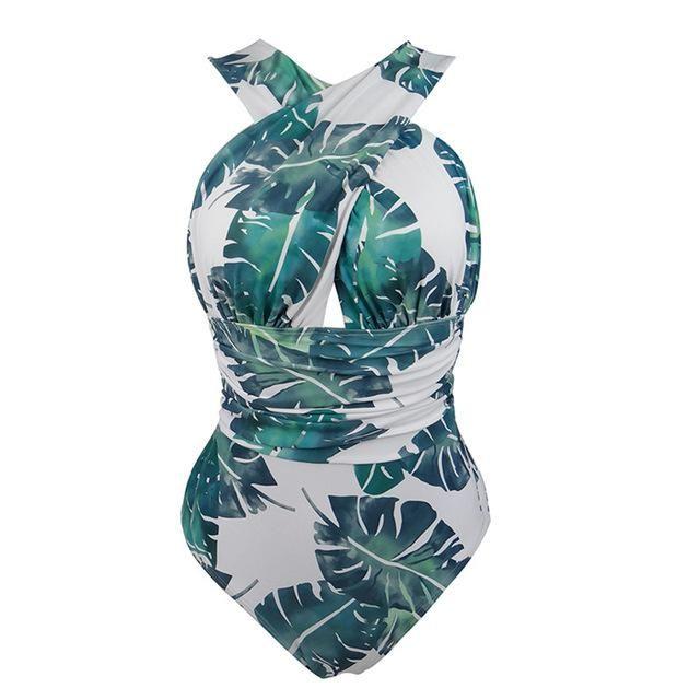 de013ed195 MelPhier Brand Women s Deep V-Neck Cross Bandage One Piece Swimsuit Plus  Sizes High Waist Monokini TK22
