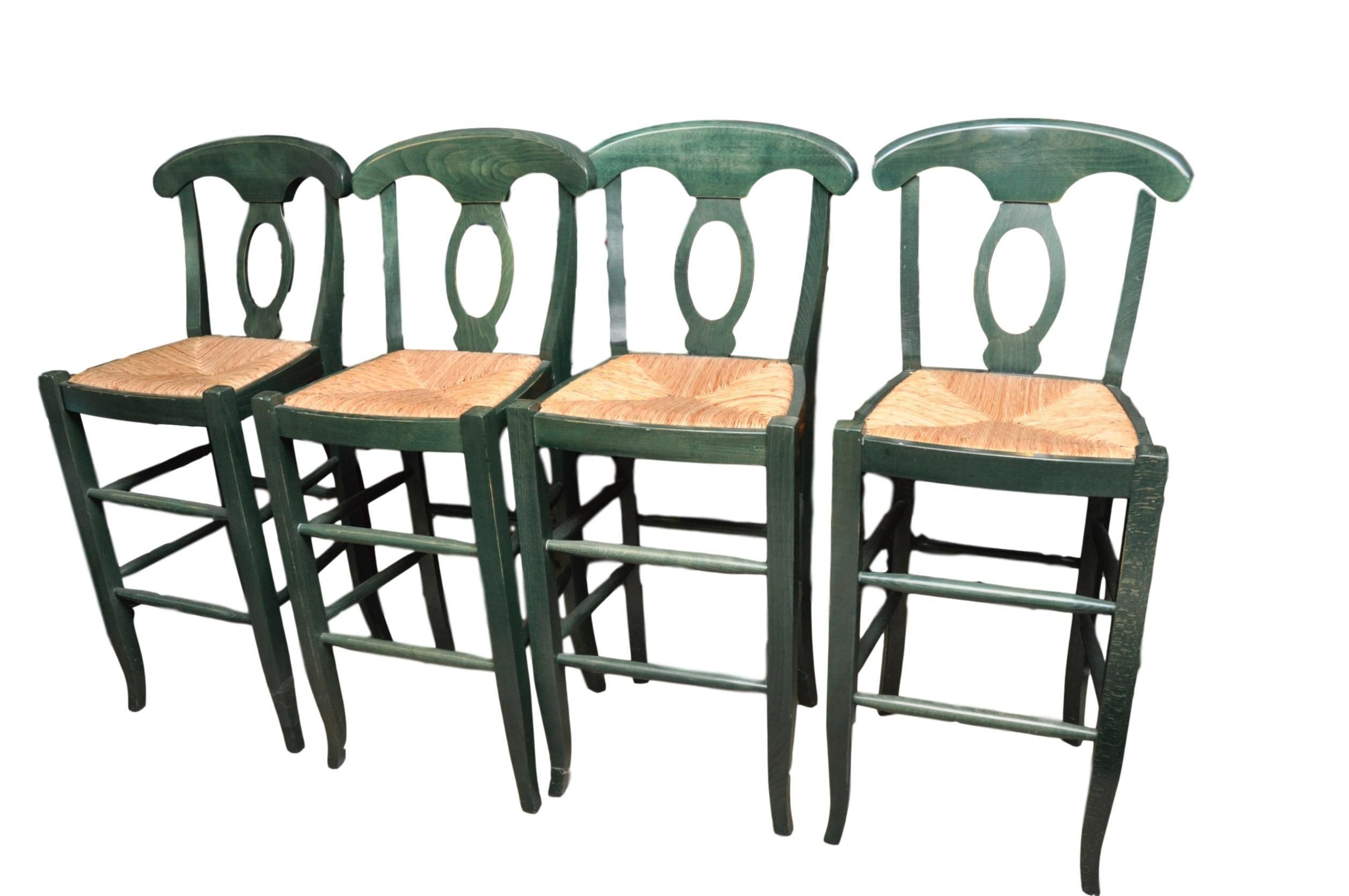 Wondrous Set Of Four Bar Stools With Rush Seats And Green Country Pdpeps Interior Chair Design Pdpepsorg
