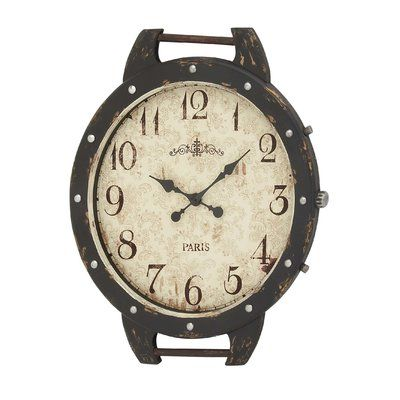 Cole & Grey Wood and Metal Wall Clock