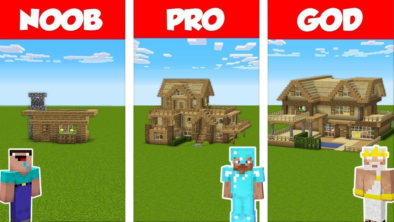 Minecraft Noob Vs Pro Vs God Survival Wooden House Challenge In Minecra Noob Challenges Shader Pack