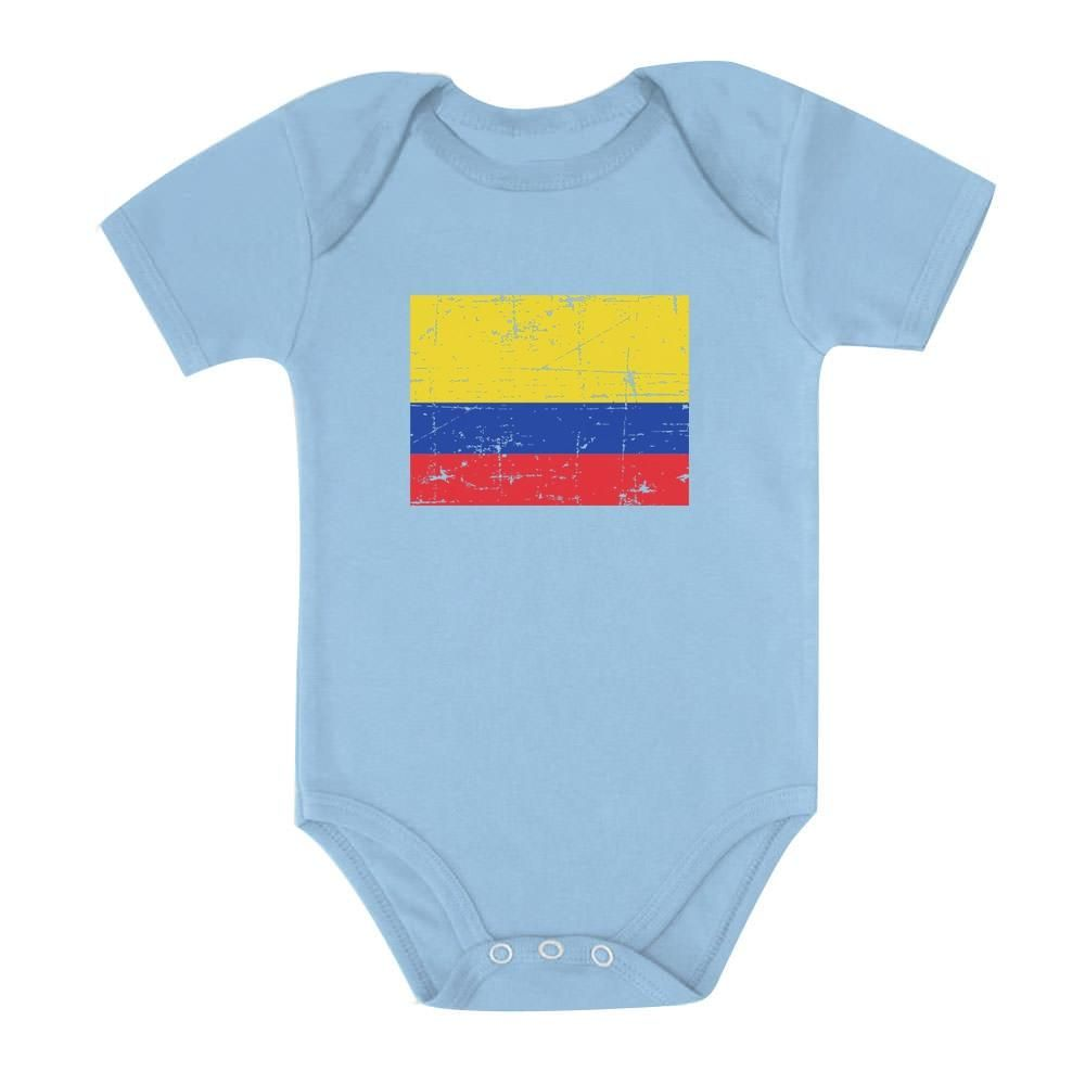 Colombia Flag Vintage Style Retro Colombian Bodysuit Baby Long Sleeve Bodysuit
