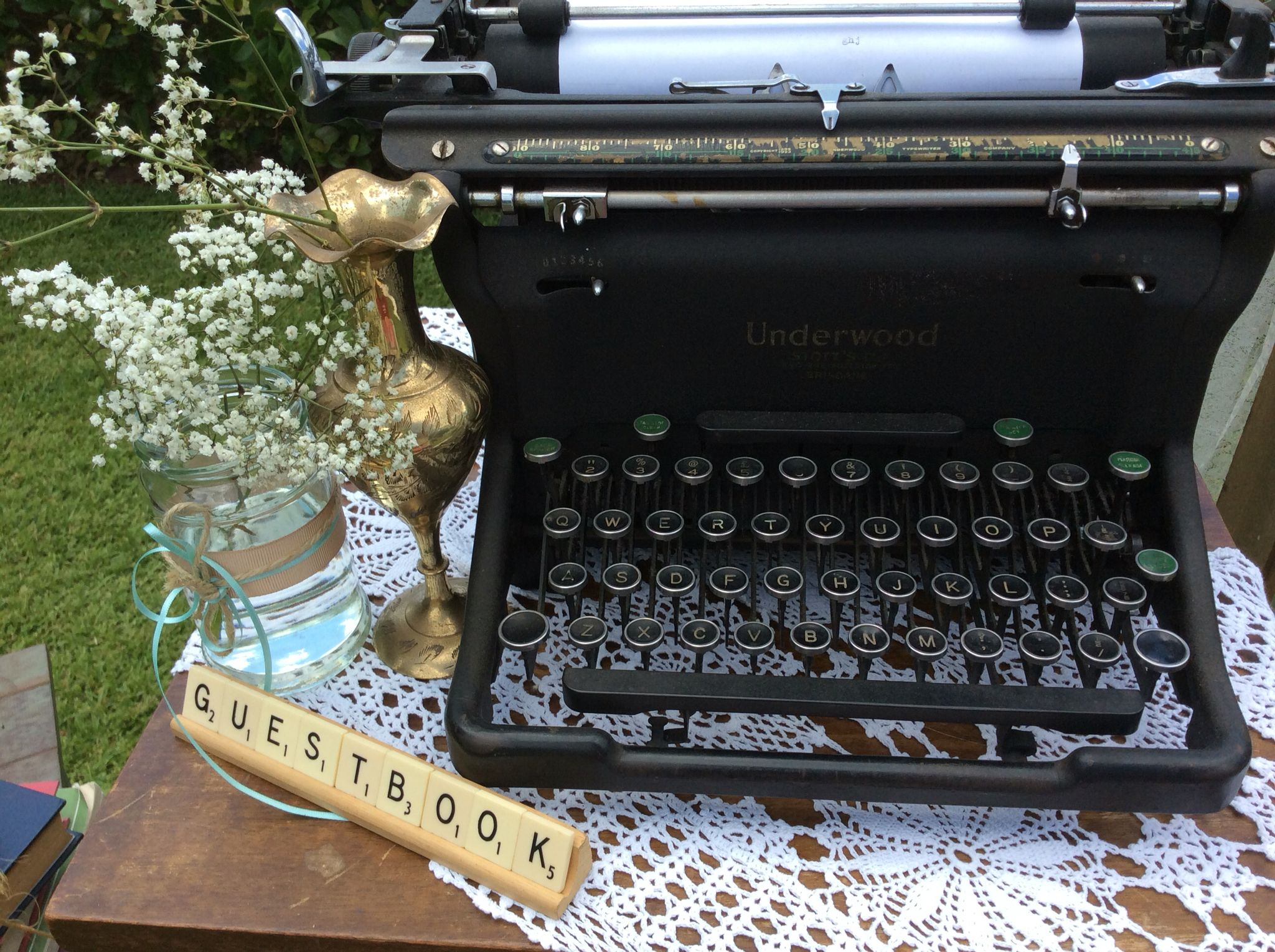 Vintage 1930's typewriter, makes a very unique Guestbook. Available for hire from Remember When Vintage Prop Hire.