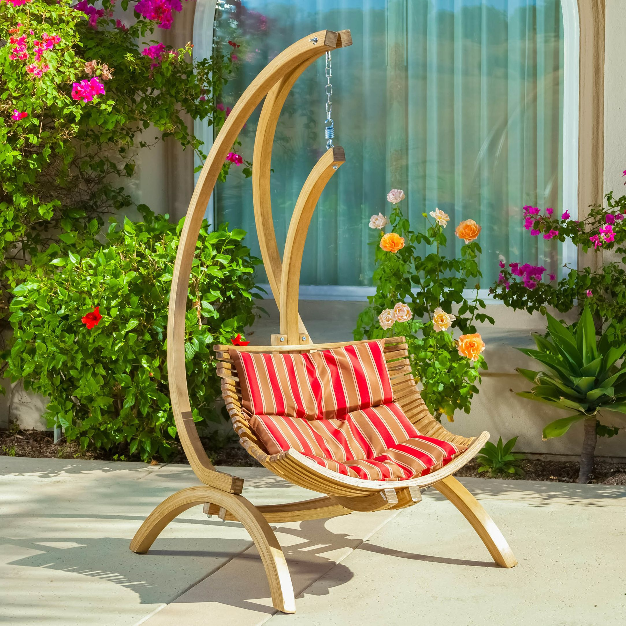 Catalina porch swing in red hanging chair outdoor