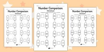 Seaside Themed Differentiated Number Comparison Worksheet