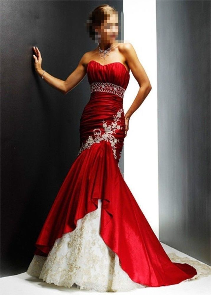 New Mermaid wedding dress Long Prom Dress Evening Ball Bridesmaid Gown Custom #Handmade #BallGown #Formal