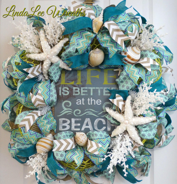 Summer Wreath Beach Wreath with Sea Shells and Flowers Seashell Wreath Beach House Decor Hello Wreath