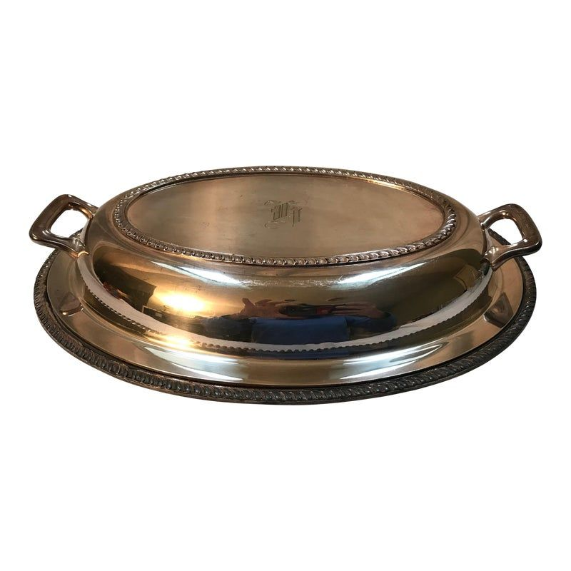 Photo of Silver Covered Meat Dish Monogram H
