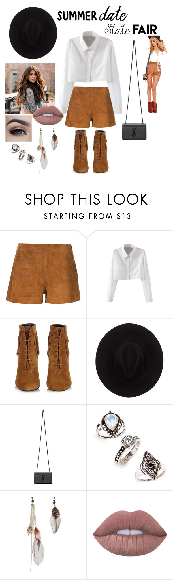 """Untitled #47"" by lilbaby32 ❤ liked on Polyvore featuring rag & bone, WithChic, Yves Saint Laurent, Brixton, Topshop, Lime Crime, statefair and summerdate"
