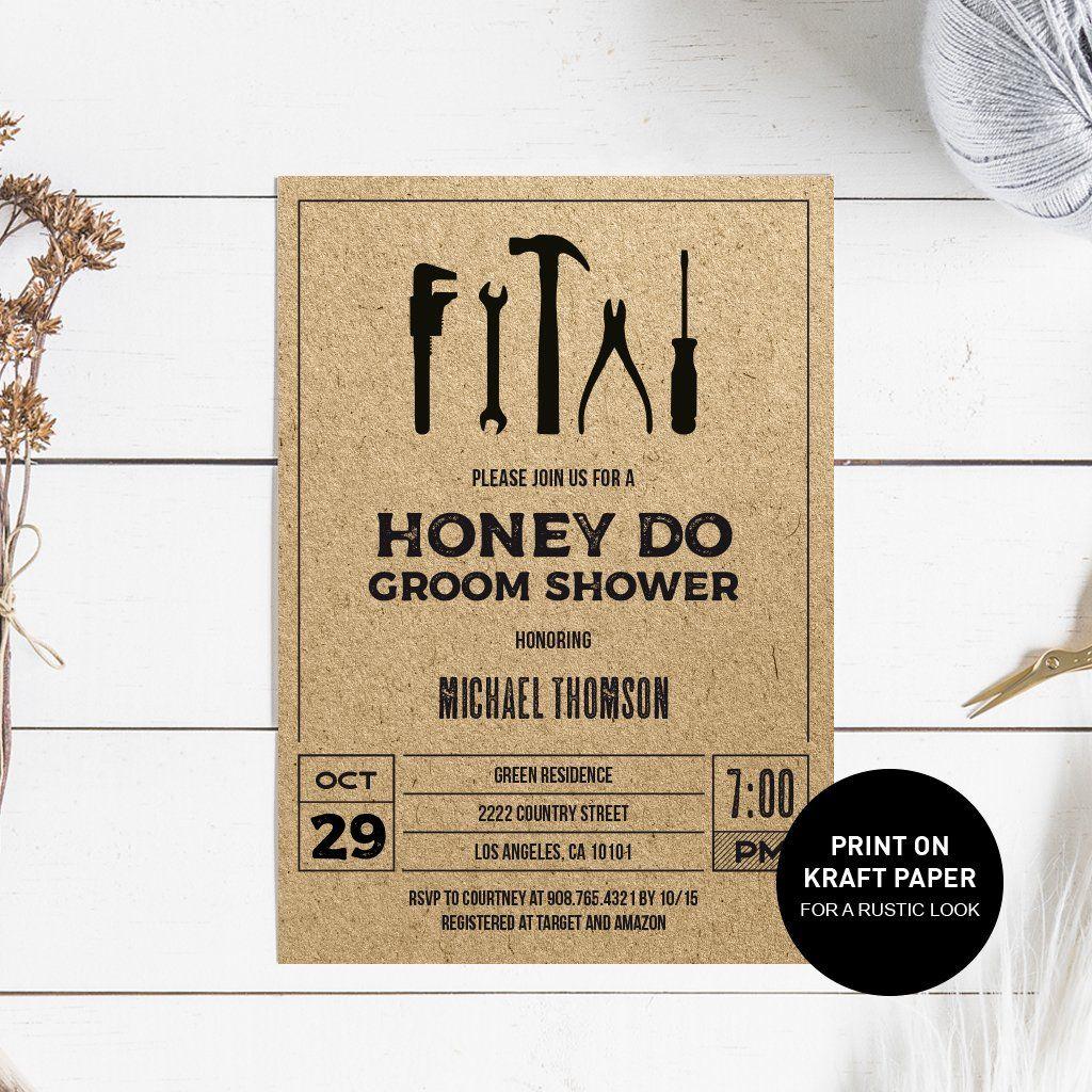 Honey Do Groom Shower Invitation Honey do shower, Shower