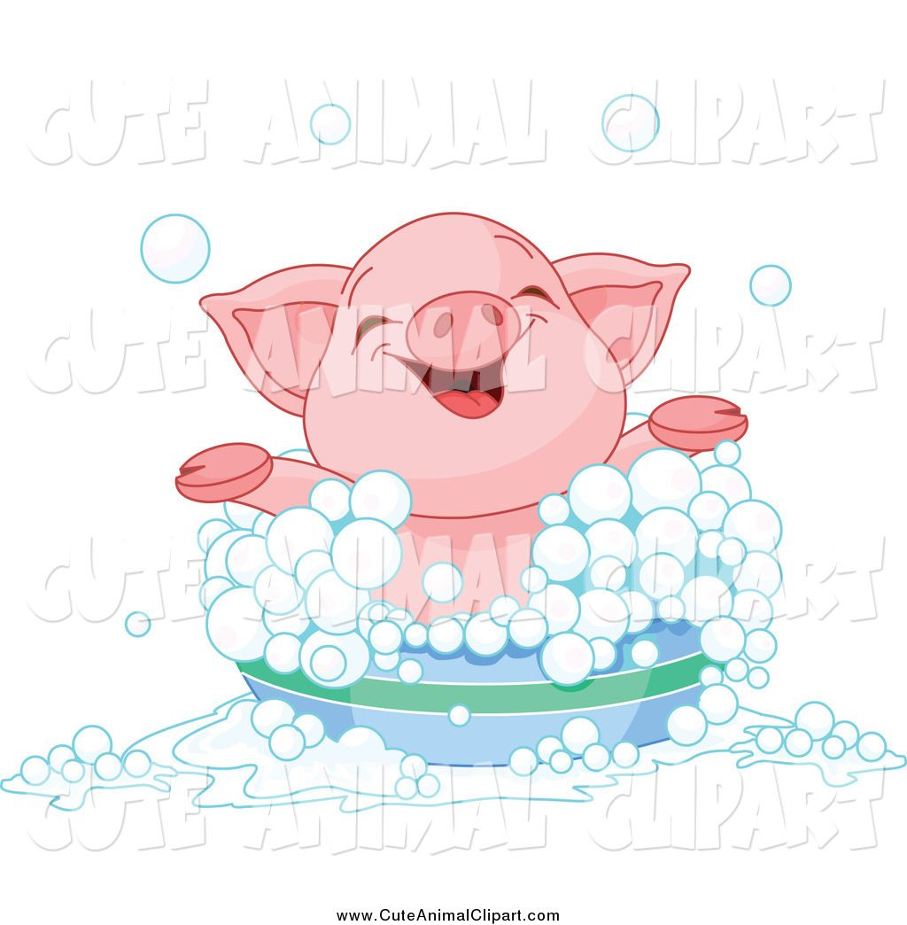 Vector Cartoon Clip Art Of A Happy Piglet Taking A Bubble Bath By Pushkin 1935 Cute Baby Pigs Baby Pigs Cute Piglets