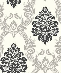 Black And Silver Damask Wallpaper From Black And White Bathrooms - Wallpaper for walls black and white