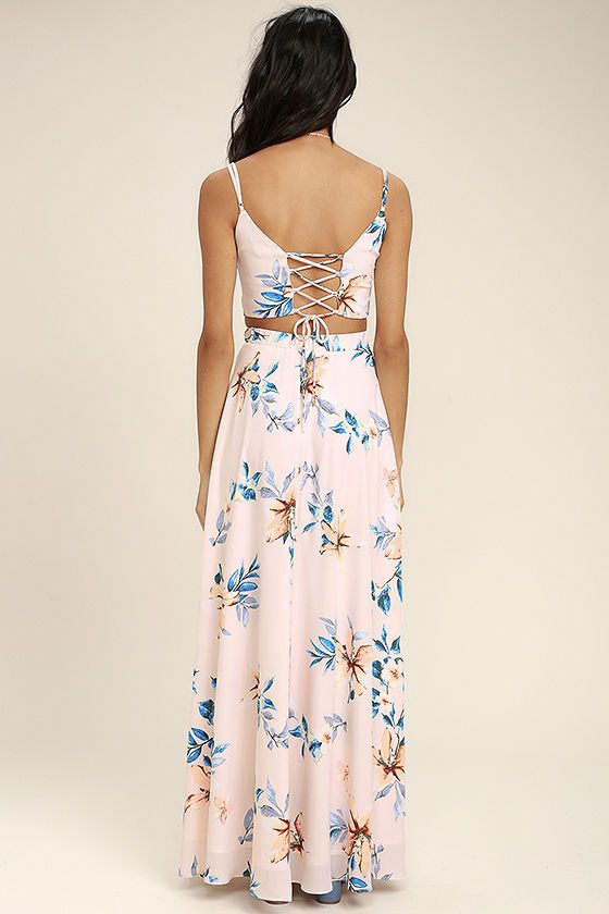 4ef98dde74 We've found our happy place in the Barefoot at the Beach Light Peach Print  Two-Piece Maxi Dress! Soft and breezy woven poly swings from spaghetti  straps to ...