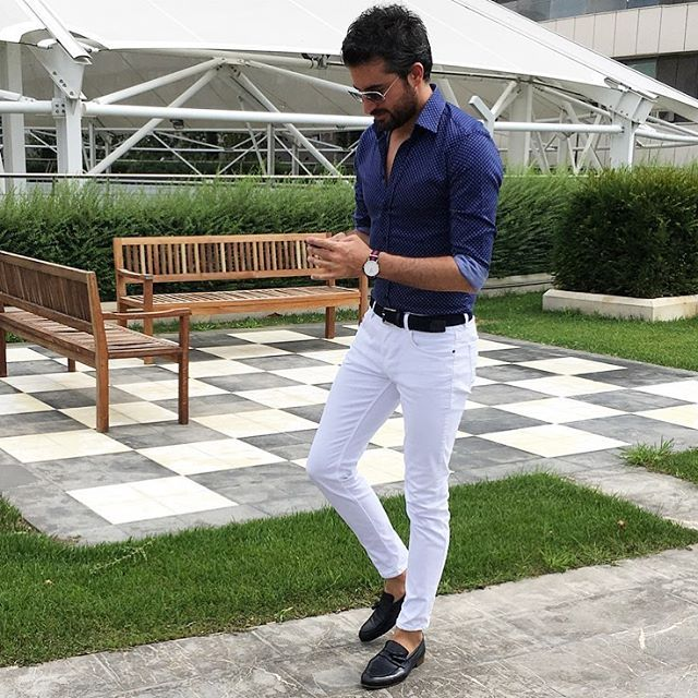 Navy blue shirt & shoes and white trousers my favorite combo mens fashion style