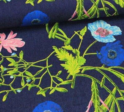 Stoff Jeansstoff mit Blumenmuster / #stofftrends #stoffe #nähen ...