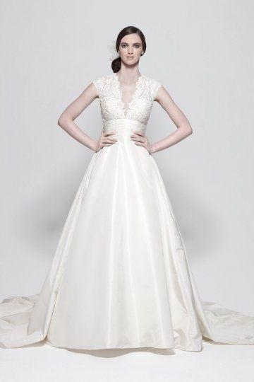 Chic A-Linie Empire ivory Brautkleider aus Taft Online billig bei ...