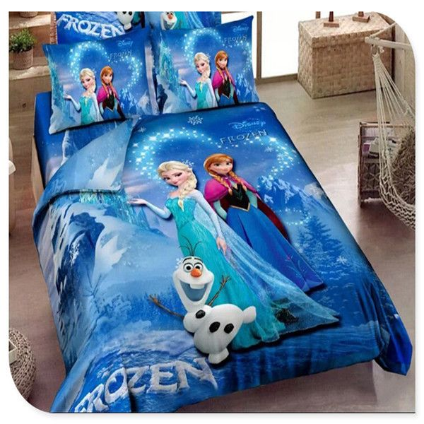 Blue Frozen Bedding Elsa Anna Bedding for Girls 100% Cotton Frozen Duvet  Cover Sheet Set - Blue Frozen Bedding Elsa Anna Bedding For Girls 100% Cotton Frozen