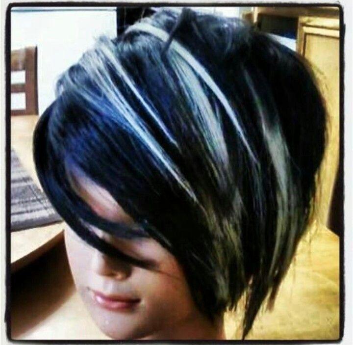 Edgy Blue Black Dark Hair With Highlights Hair Streaks White