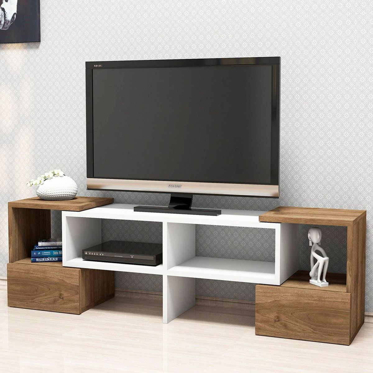 Meuble Tv Fold - Meuble Tv Design But Trendy Meuble Television With Meuble Tv [mjhdah]https://toilinux.com/49209-thickbox_default/meuble-tv-moderne-fold-141-x-39-cm-blanc-et-marron.jpg