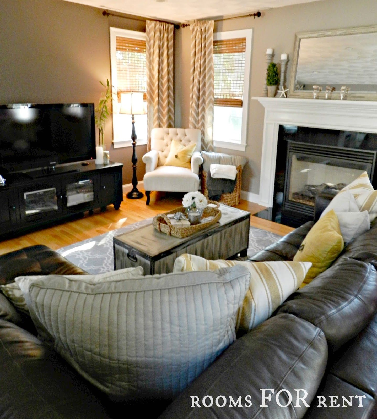 How To Style A Dark Leather Sofa Den Makeover Leather Couches