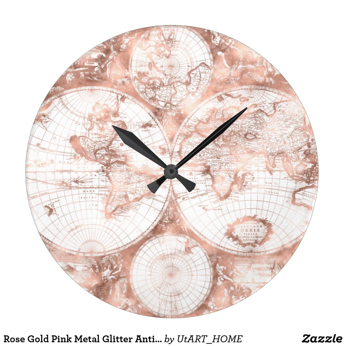 Rose gold pink metal glitter antique world map square wall clock rose gold pink metal glitter antique world map square wall clock this trendy retro shimmering world gumiabroncs Image collections