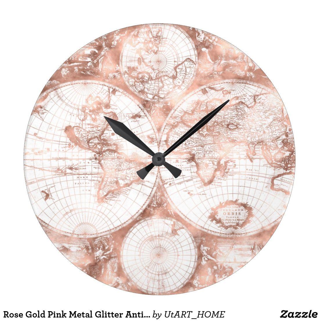Rose Gold Pink Metal Glitter Antique World Map Square Wall Clock Zazzle Com In 2020 Wall Clock Square Wall Clock Clock