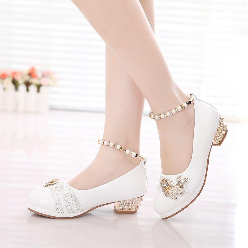 83a5e93e841 Zapatos de las niñas 2016 primavera princesa partido blanco negro formal  perlas rosa de cuero de imitación de Calzado para niñas de 10 años de edad  grande ...