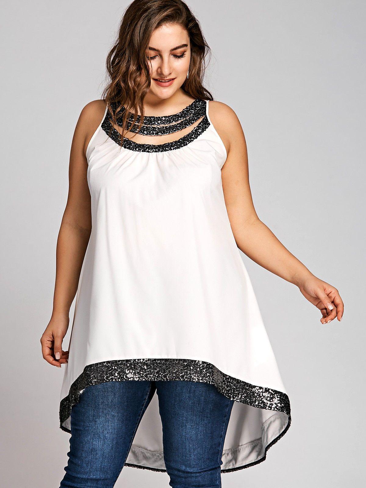 984741473f0de  10.44 - Plus Size Sequined Trim Sleeveless Womens T-Shirt Longline Short Blouses  Tops