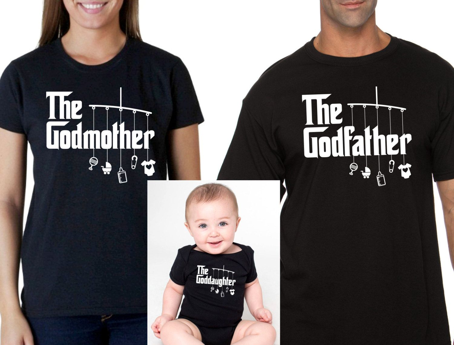 The Godfather and the Godmother black t-shirts set. Godparents gift, godparents present, godparents t-shirts set