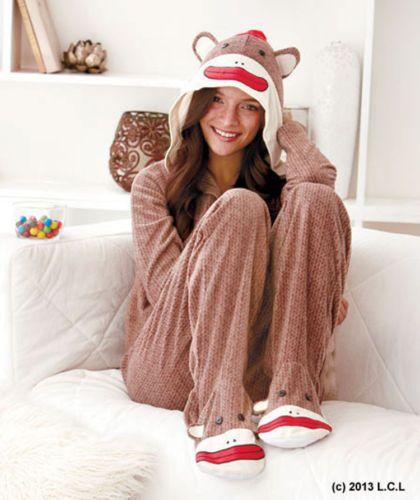 1e9e0cf5ecee 2 Piece Hooded   Footed Sock Monkey IN STOCK Fleece Adult Woman ...