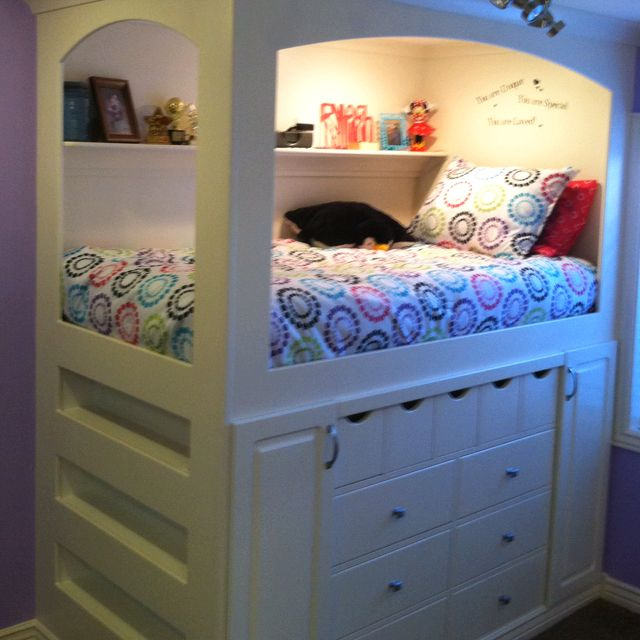 Girls Bedroom Black Furniture Bedroom Built In Bookshelves Vintage Floral Wallpaper Bedroom Gray Bedroom Bench: Built-in Princess Bed- My Friends Made This For Their