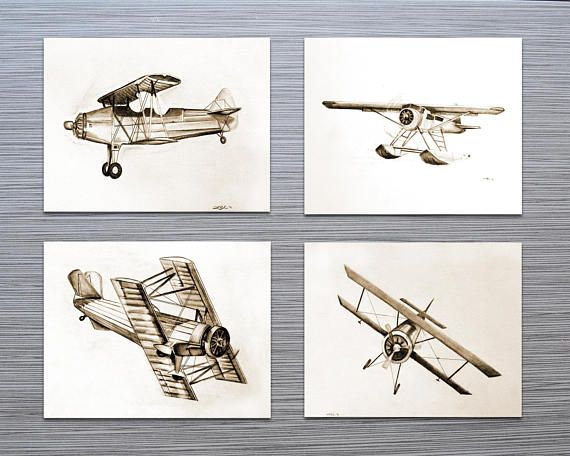 Aviation Decor Art Boys Room Vintage