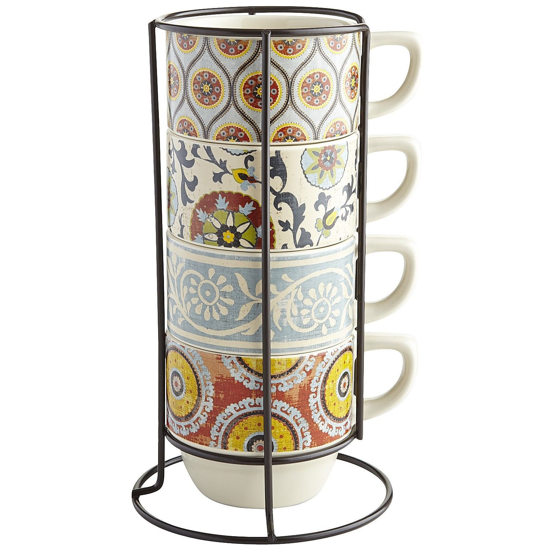 Suzani Patchwork Stacking Mugs Set Of 4 With Stand Mugs Mugs Set Coffee Mug Holder